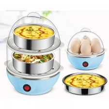 Double Layer Electric Egg Cooker Steamer Poacher Egg Boiler Cake Steamer
