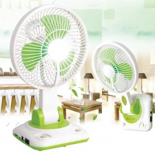 Rechargeable Emergency LED Table Hanging Fan Foladable 2 Speed Cooling
