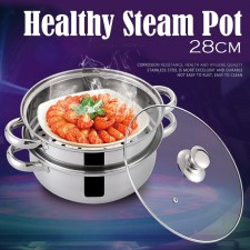 Quality 28CM Glass Cover Stainless Steel 2 Layers Steam Pot Kitchen Cookware