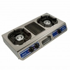MILUX GAS COOKER STOVE DOUBLE WITH GRILL PLATE