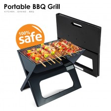 Large 45cm Portable Outdoor BBQ Grill Charcoal Carry Travel Camp Stick Briefcase