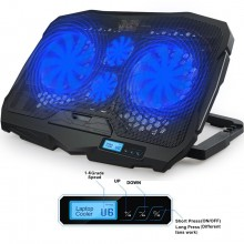 Aicheson S-18 4 Heavt Duty Fans Laptop Cooling Pad With LCD Display & LED Lights