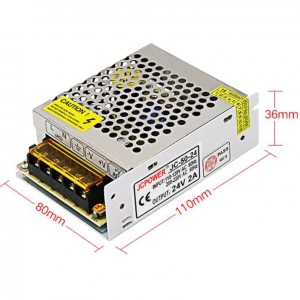 AC - DC 50W 24V 2A CCTV Alarm LED Switching Power Supply Adapter