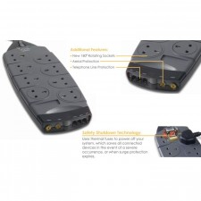 Belkin Surge Protector 8 Way Socker with Tel & AV Protection