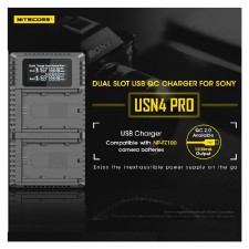 NITECORE USN4 Pro - Dual Slots USB Charger for Sony NP-FZ100 batteries