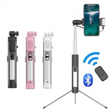 4 in 1 Portable Bluetooth Selfie Stick Tripod Monopod With Fill Light