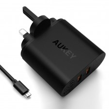 Aukey PA-T16 Dual USB Qualcomm Quick Charge 3.0 Charger - UK Plug