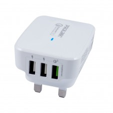 3-Port USB Qualcomm Quick Charge 3.0 Travel Charger 30W Fast Charging Advanced Protection