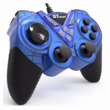 GT Coupe X6 vibrates Shock USB Game Controller with Turbo Blue