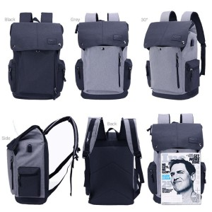 MC468 RE2 Unisex Urban Grey / Black USB Bag College Office Laptop Backpack
