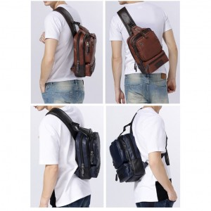 Large Crossbody Shoulder Men Bix Box Beg Man Chest Pouch Leather Bag