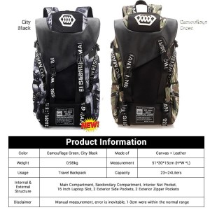 Army Stylish 25 Liters Backpack / College Student USB Camouflage Beg