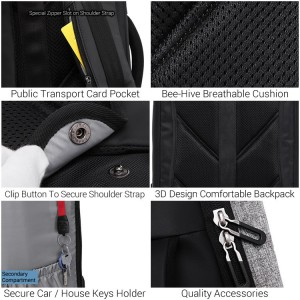 Formal Office Oynx Black Quality Daily Laptop Backpack Travel Bag