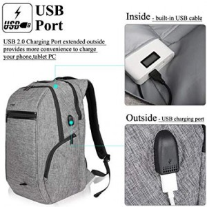 15.6 17.3 Inch Nylon Laptop Backpack Bag with USB Charging anti-theft