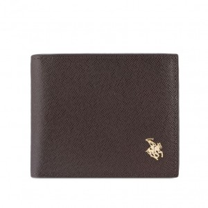 Polo RFID Blocking Bi-Fold Genuine Leather Wallet - Coffee
