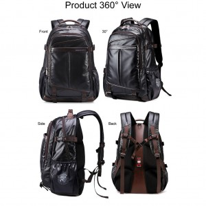 Coated Shinny Fabric Cool Design City Urban Daily Convenient Backpack