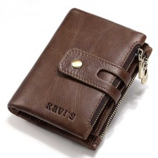 Genuine Cowhide Leather Men Wallet Coin Small Purse RFID Blocking Zipper