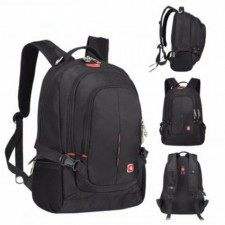 15.6 Inches Laptop and Travel Double Straps Backpack - Black