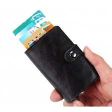 RFID Ridge US Metal Money Clip Leather Wallet Thin Card Holder Card Case Simple