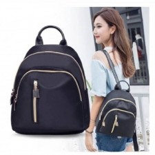 Middle Straight Zip Backpack Casual Lady Beg