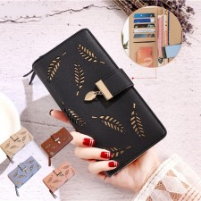 Women Long Floral Hollow Wallet Leather Purse Card Holder