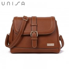 UNISA Faux Leather Sling Bag With Flap Over Closure