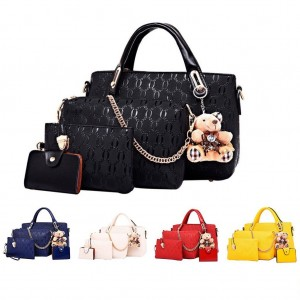 5 in 1 Set Crocodile Faux Tote Bag