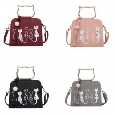 Women Leisure Sling Bag with Cartoon Cats