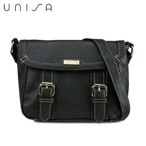 UNISA Saffiano Effect Sling Bag With Flap Over Closure
