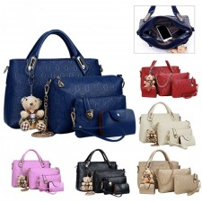 5 In 1 Synthetic Leather Shoulder Bag Zipper Cross Body Tote Bags