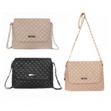 Trendy Quilted Chain Leather Sling Bag Crossbody Handbag
