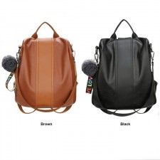 Portable Retro PU Leather Simple Shoulder Backpack