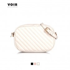 VOIR Small Crossbody Bag With Quilted Details & Zipper Closure