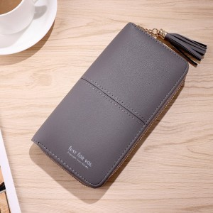 Long Wallet Women PU Leather Zip Pouch Purse Beg Tangan Wanita