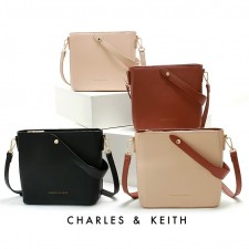 Charles & Keith Luxury Leather Crossbody Bag Beg Tangan