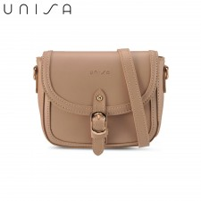 UNISA Faux Leather Sling Bag With Flap Over Beg Tangan