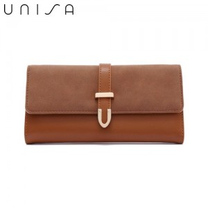 UNISA Duo-Texture Tri-Fold Wallet With Strap
