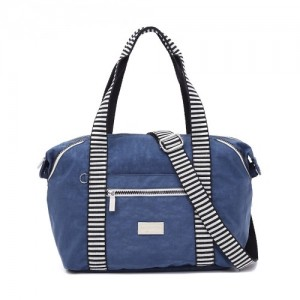Crinkled Nylon Top Handle Bag With Zebra Strap