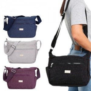 Crinkled Nylon Multi-Compartment Sling Bag