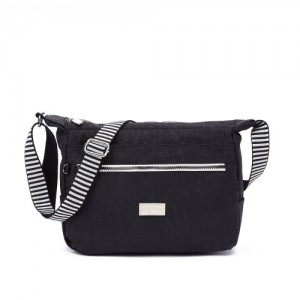 Crinkled Nylon Multi-Compartment Sling Bag With Zebra Strap