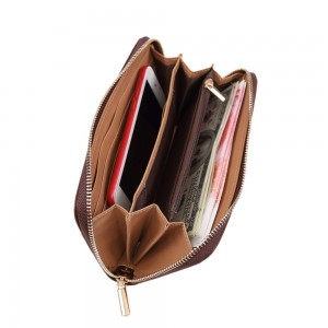 New fashion UNISA Perforated Facile Zip-Up Wallet