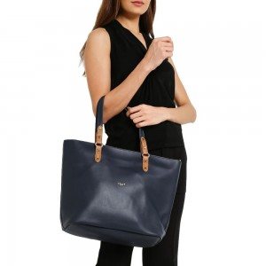 UNISA Duo Tone Faux Leather Tote Bag Set Of 3