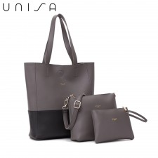 UNISA Colour Block Faux Leather Tote Bag Set Of 3