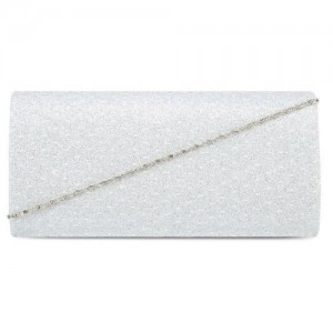 UNISA V-Metal Clutch With Glittering Stones & Crystal Embellishment