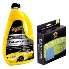 Meguiar's Ultimate Wash & Wax Posh Care Water Gone Drying Towel COMBO