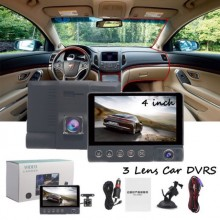 "4.0"" 3 lens Car cam Front/Inside/Rear1080HD Car Camera DVR Dash Cam Nigh Vision"