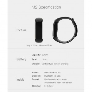 M2 Blood Pressure Heart Rate Monitor Bluetooth SmartWatch