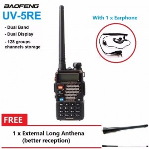 Baofeng UV-5RE 128CH VHF/UHF WalkieTalkie(Black)W/ Earphone+1 External Anthena