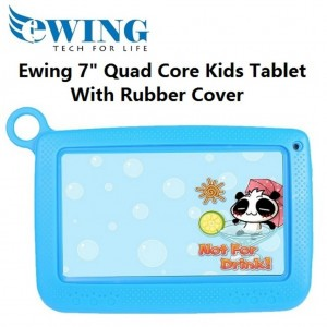 """Ewing 7"""" 8GB Quad Core Dual Camera Wifi Android4.4 Kids Tablet W/ Cover (Blue)"""
