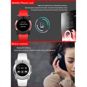 V8 Camera Bluetooth AntiLost Smart Watch Support Sim Card TF Card For Android